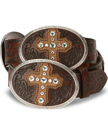 Justin Bent Rail Cross Conch Leather Belt