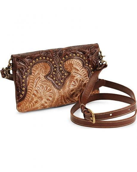 American West Two-Tone Tooled Leather Clutch