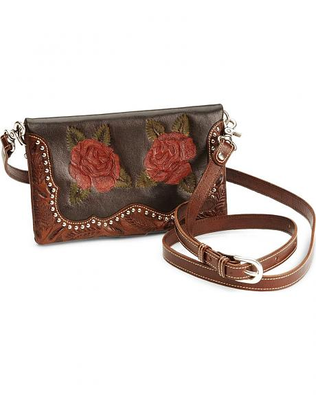 American West Rose Tooled Leather Clutch