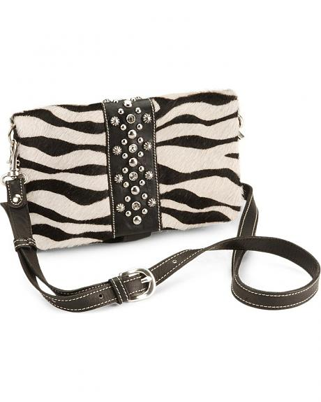 American West Zebra Print Hair-On Clutch