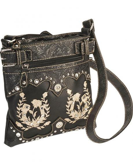 Savana Horseshoe Rose Embroidered Messenger Bag
