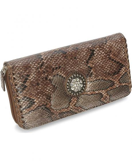 Way West Embellished Snake Print Wallet