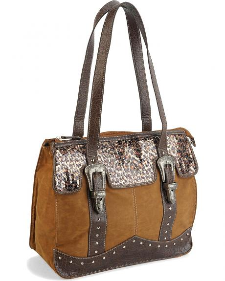 Cowgirl Up Canyon Ridge Sequined Leopard Print Tote Bag