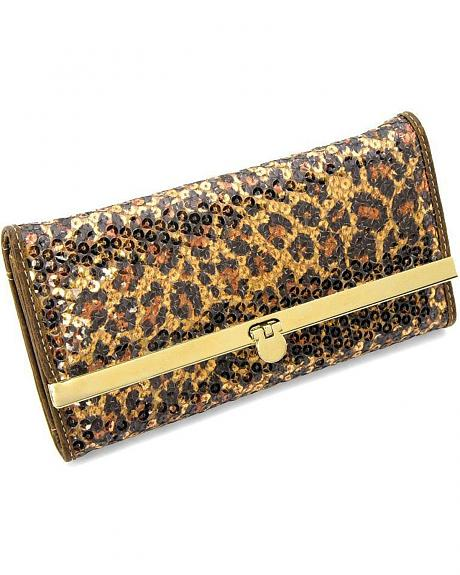 Cowgirl Up Canyon Ridge Sequined Leopard Print Wallet