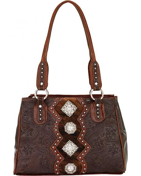 American West Triple Compartment Leather Tote