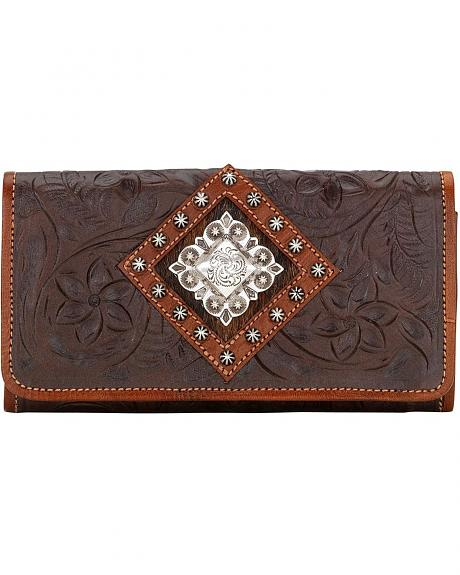 American West Embossed Tri-Fold Leather Wallet