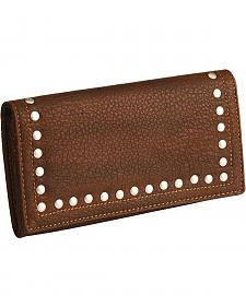American West Bandana Brown Signature Flap Studded Wallet