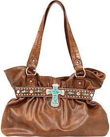 Blazin Roxx Faux Turquoise Stone Cross Shoulder Bag