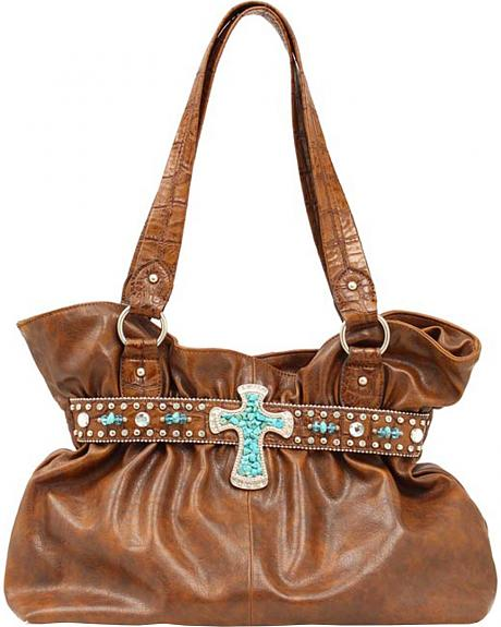 Blazin Roxx Faux Turquoise Stone Cross Shoulder Bag