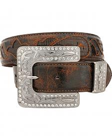Nocona Vintage Lizard Print Underlay Leather Belt