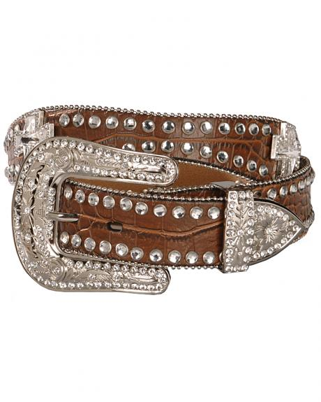 Blazin Roxx Scalloped Rhinestone Cross Croc Print Belt
