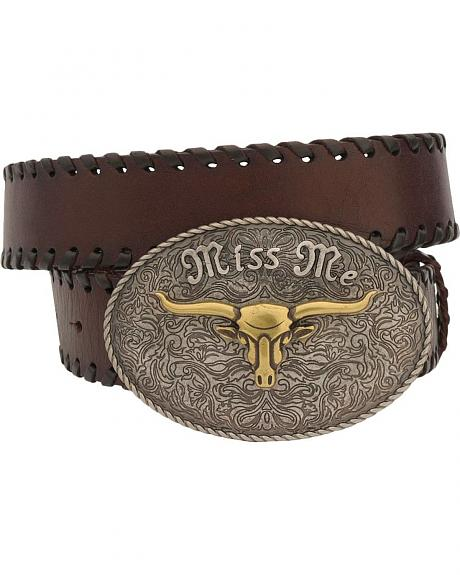 Miss Me Whipstitch Belt & Steer Head Buckle