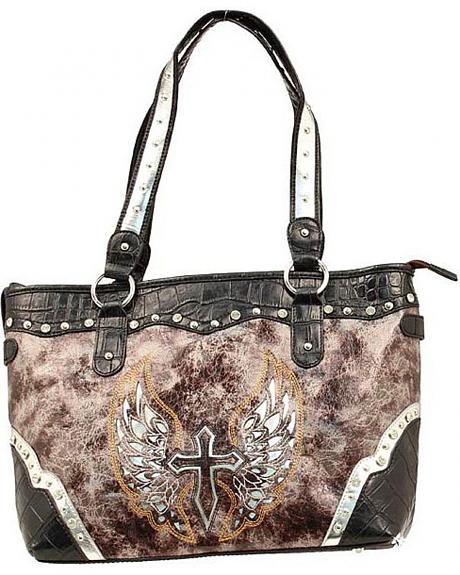 Blazin Roxx Cross with Wings Tote Bag