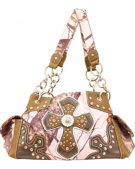 Blazin Roxx Pink Mossy Oak with Cross Applique Satchel Bag