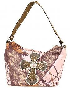 Blazin Roxx Pink Mossy Oak with Cross Applique Hobo Bag