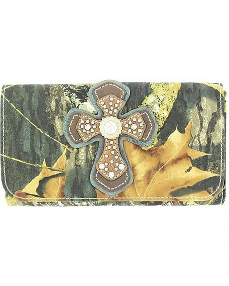 Blazin Roxx Mossy Oak with Cross Applique Wallet