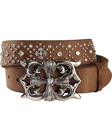 Miss Me Cross Plaque Buckle Western Belt