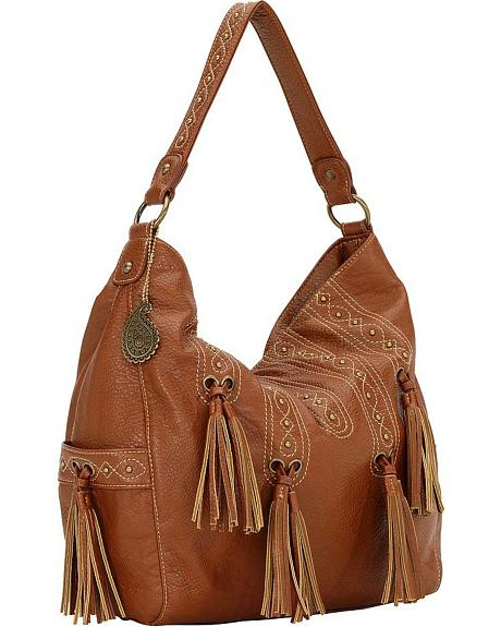 American West Bandana San Raphael Brown 3 Compartment Hobo Bag