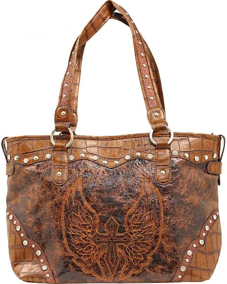 Blazin Roxx Brown Cross & Wings Tote Bag