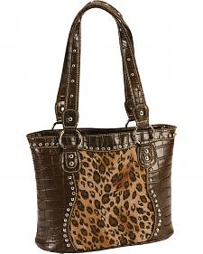 Blazin Roxx Croc Print Leopard Inlay Shoulder Handbag