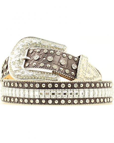 Nocona Black Croc with Crystal Square Conchos Western Belt
