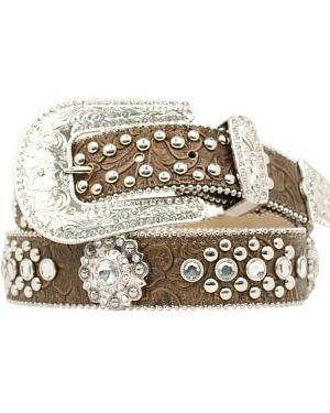 Blazin Roxx Concho Studded Floral Embossed Western Belt