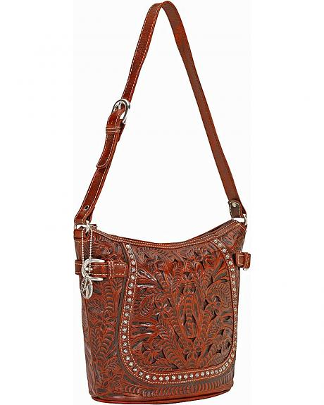 American West Sweet Serenade Brown Tooled Shoulder Bag