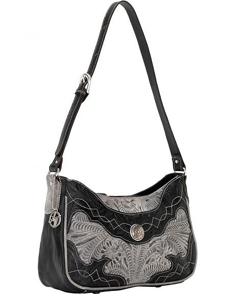 American West Black & Grey Renegade Zip Top Shoulder Bag