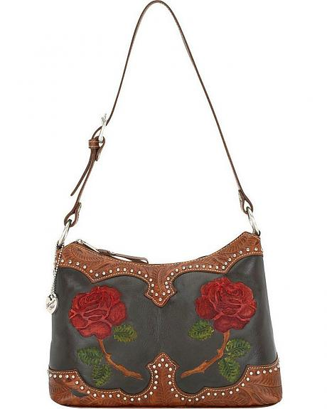 American West Roses are Red Zip Top Shoulder Bag
