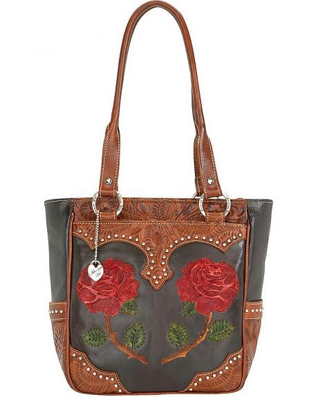American West Roses are Red Zip Top Tote