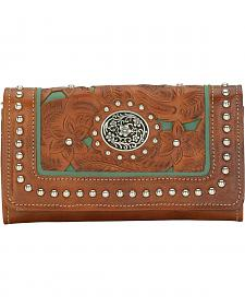 American West Lady Lace Tri-Fold Leather Wallet