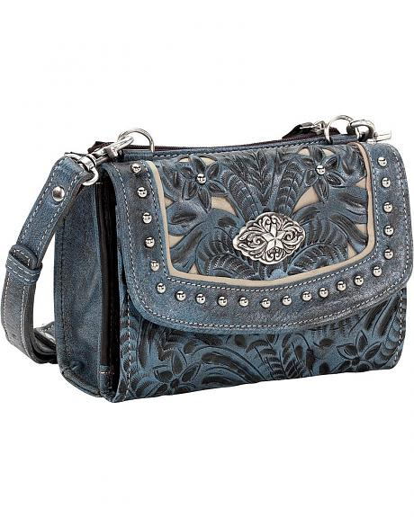 American West Texas Two Step Blue Floral Tooled Crossbody Bag