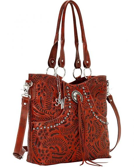American West Forget Me Not Red Tooled Leather Tote