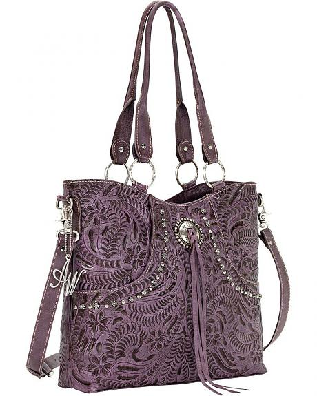 American West Forget Me Not Purple Tooled Leather Tote