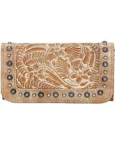 American West Forget Me Not Tooled Distressed Leather Wallet Western & Country 7699282