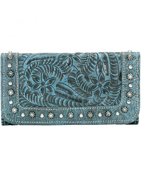 American West Forget Me Not Blue Tooled Leather Wallet