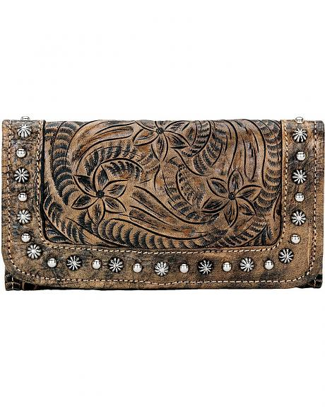 American West Chocolate Forget Me Not Tooled Leather Wallet