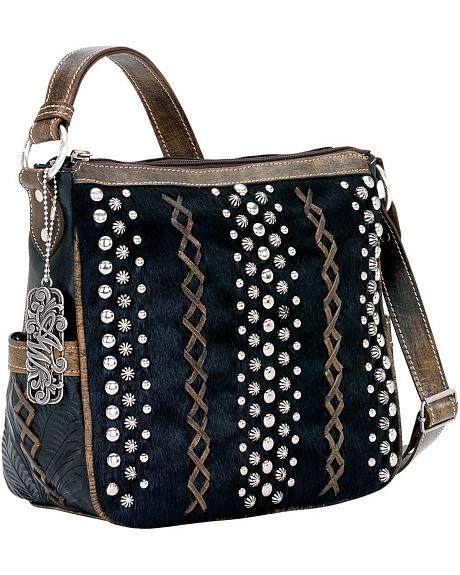 American West River Rock Black Hair-on-Hide Crossbody Handbag
