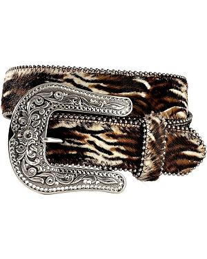 Justin Pretty Animal Print Cow Hair-On-Hide Western Belt