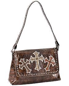 Blazin Roxx Three Cross Croc Print Shoulder Handbag
