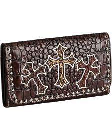 Blazin Roxx Three Cross Croc Print Wallet