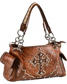 Blazin Roxx Tan Embossed Cross Satchel Bag