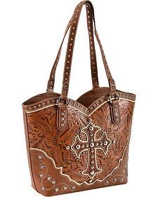 Blazin Roxx Tan Embossed Cross Boot Top Handbag