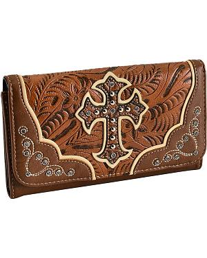 Blazin Roxx Tan Embossed Cross Wallet