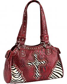 Blazin Roxx Zebra Studded Cross Satchel Bag
