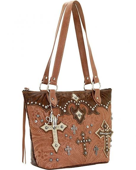 American West Cross Applique Brown Ponderosa Zip Top Bucket Tote