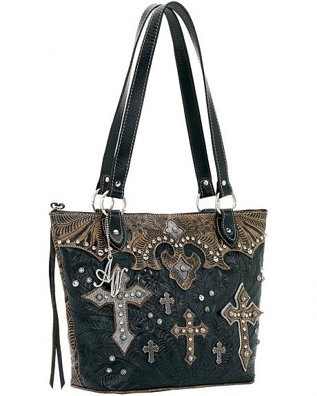 American West Cross Applique Black Ponderosa Zip Top Bucket Tote