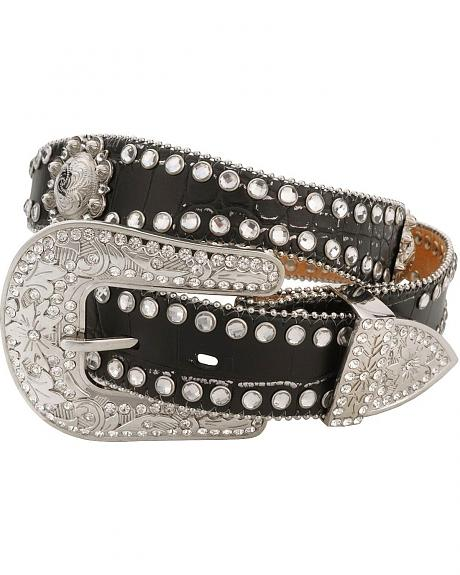 Red Ranch Black Croc Print Rhinestone Embellished Belt