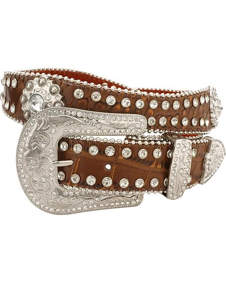 Red Ranch Brown Croc Print Rhinestone Embellished Belt
