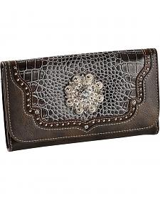 Blazin Roxx Croc Print Faux Leather Checkbook Wallet